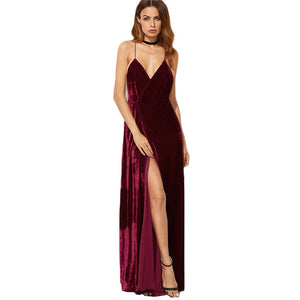 4017b60dbe3 Burgundy Velvet Maxi Backless Dress Womens Autumn Party Dresses Deep V –  Tenderla
