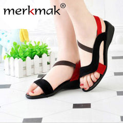 Free Shipping! 2017 black sandals women's shoes open toe wedges genuine leather new style fashion flat heel sandals