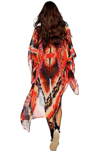 aafe5130fc622 Red Tribal Print Open Front Kaftan Beach Cover Up