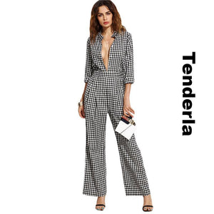 Long Sleeve Plaid Sexy Work Wear Jumpsuit