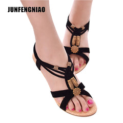 JUNFENGNIAO Sandals Women Female Lady Girl Retro Casual Slip On Gladiator PU Rubber String Bead Flip Flops Spring Summer CS-B-2