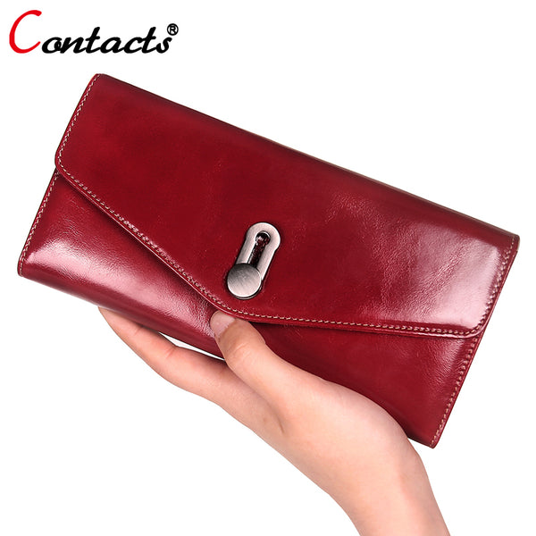 671afdf29ff5 CONTACT'S women wallet Genuine Leather Wallet Women Luxury brand Coin card  holder female clutch bag Women Wallet And Purse red