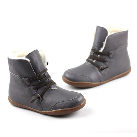 Women's Boots Winter Shoes Wool Genuine Leather Shoes Round toe Lace up Ladies Ankle Boots Female Footwear (K10)
