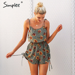 Simplee Casual floral print strap ruffles playsuits Two piece rompers women