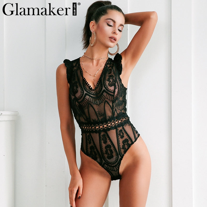 Glamaker Sexy lace bodysuit women tops Transparent mesh summer jumpsuit romper Fitness christmas party club macacao body suit