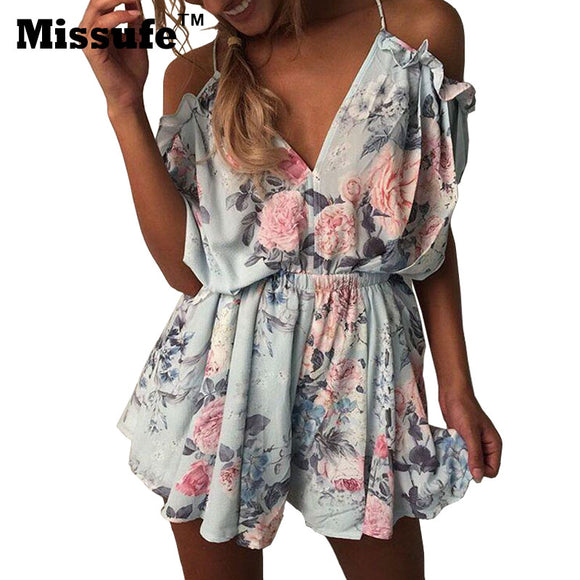 off shoulders overall floral printed playsuits