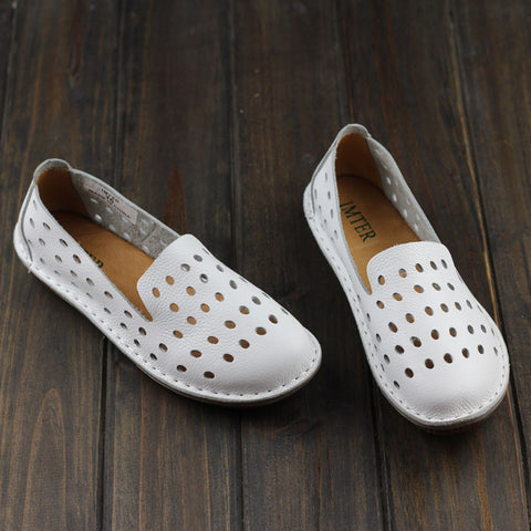 Women's Shoes Hand-made Genuine Leather Flats Plain Toe Slip on ladies Flat Shoes Casual Female Footwear