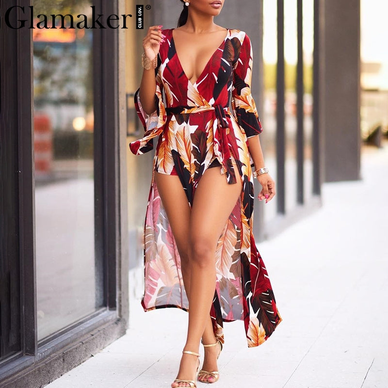 Glamaker Summer boho women jumpsuit romper Sexy split warp beach jumpsuit long playsuit Female deep v neck overalls combine 2018