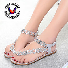 Cuculus 2018 Women Sandals Summer Style Bling Bowtie Fashion Peep Toe Jelly Shoes Sandal Flat Shoes Woman 3 Colors