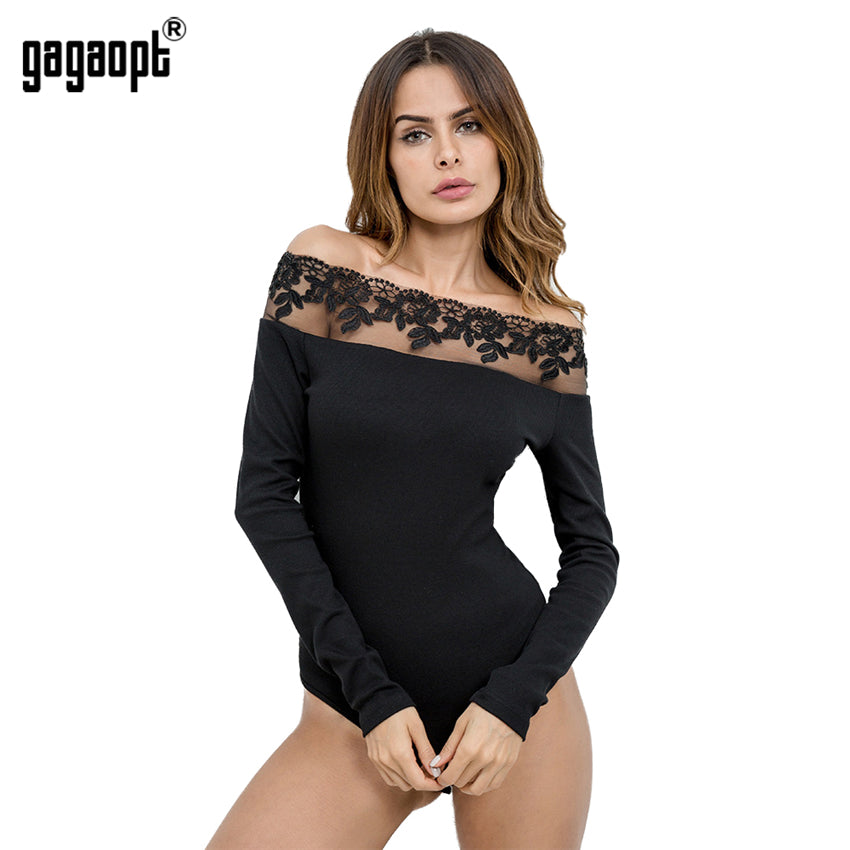 Gagaopt Women Lace Bodysuit Off Shoulder Longsleeve Autumn Elegant Romper Women Jumpsuit Playsuit Sexy Overall