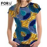 Half sleeves O-neck African pattern Women T-Shirts half
