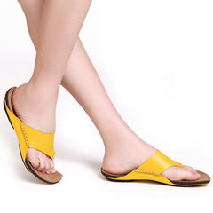 Shoes Woman Flip Flops 100% Authentic Leather Open Toe Sandals