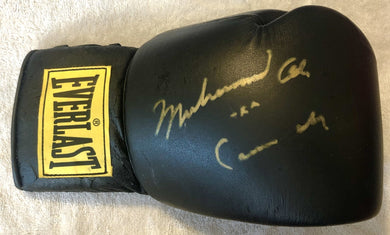 Muhammad Ali aka Cassius Clay Gold signature Autographed Blk Everlast Boxing Glove