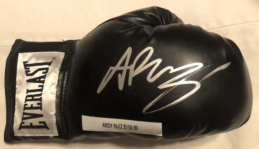 Andy Ruiz autographed Black Everlast Boxing glove in silver signature JSA