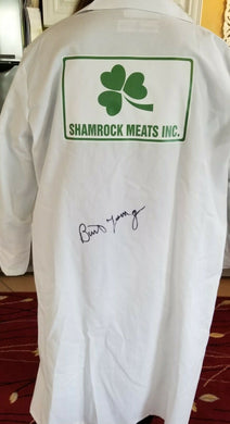 Burt Young signed Shamrock Meats butcher coat Paulie Rocky coa.