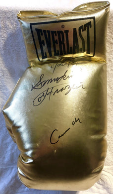 Cassius Clay and Smokin' Joe Frazier Super Rare Autographed 22 inch Size Charity Everlast Gold Boxing Glove