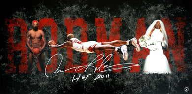 Dennis Rodman Autographed Career Collage Chicago Bulls 15x30 Photo ASI Proof