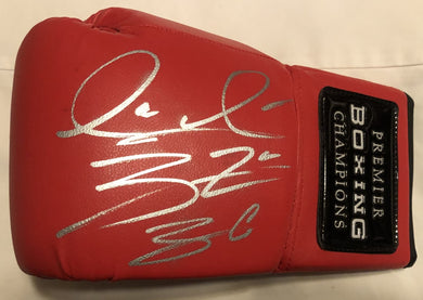 Deontay Wilder Red signed Rare Autographed boxing glove in silver marker. JSA
