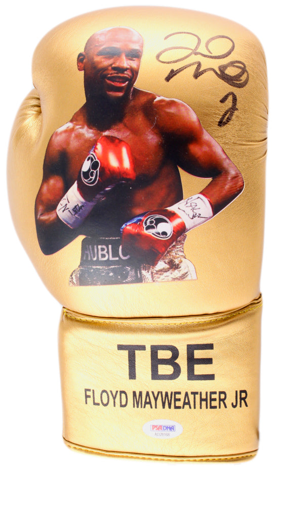 Floyd Mayweather Jr. Signed TBE Photo Boxing Glove (PSA COA)