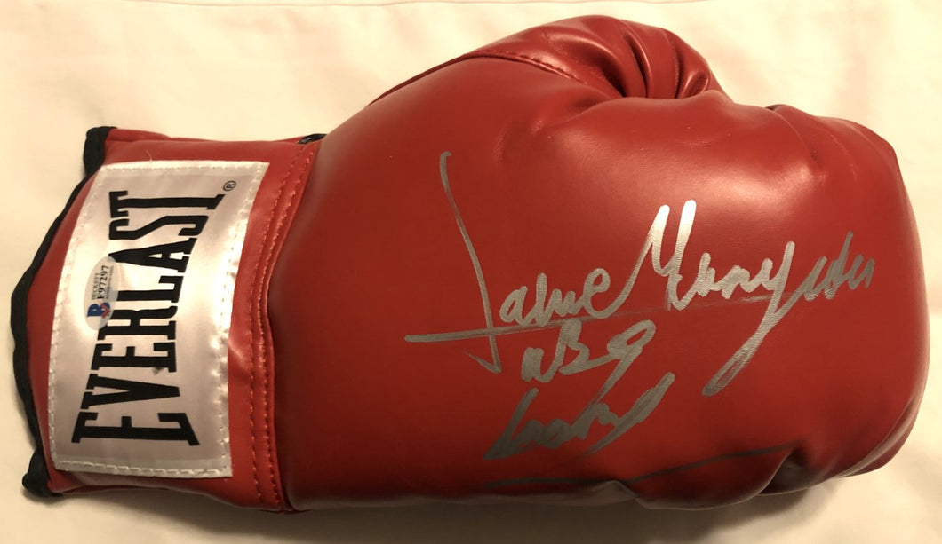 Jaime Munguia signed autographed Red boxing glove, WBO, WBC, BECKETT
