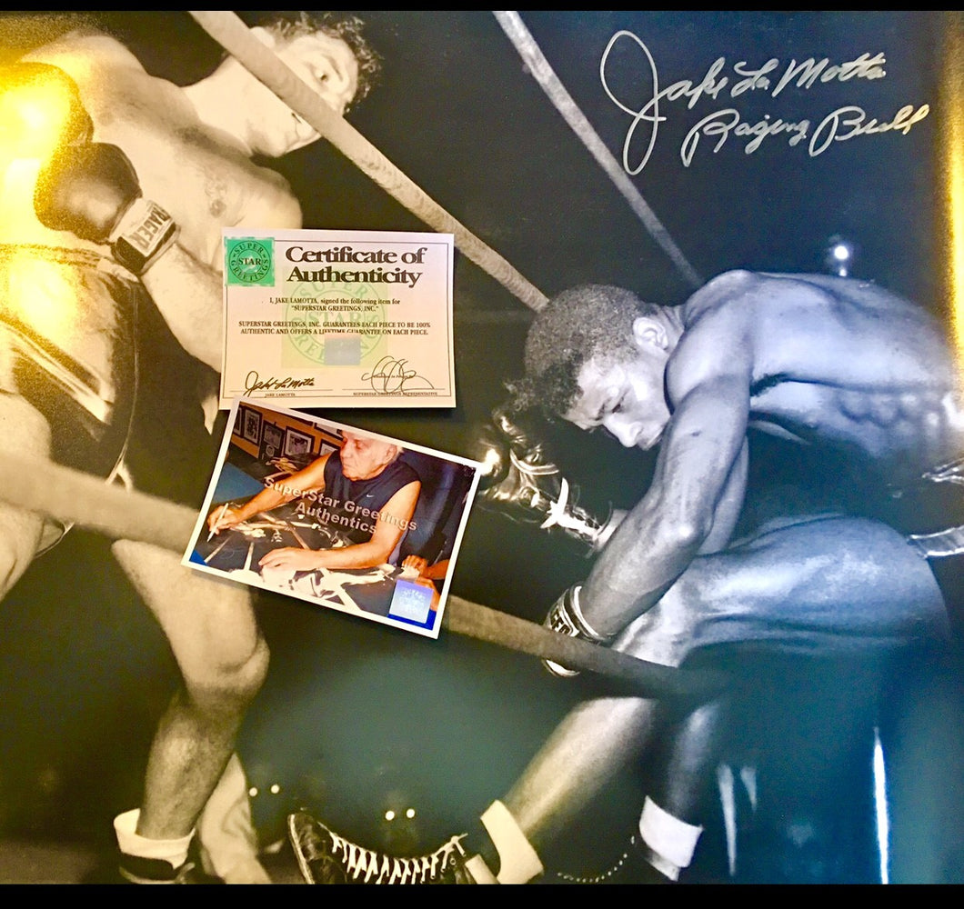 Jake La Motta signed autographed boxing photo 23x30 Certified