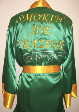 Joe Frazier Signed Autographed Rare Green Boxing Robe in Silver ASI Certified