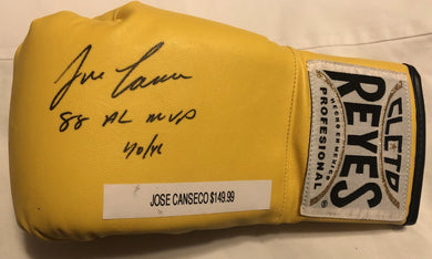 Jose Canseco Autographed signed Reyes yellow Rare Boxing glove Certified