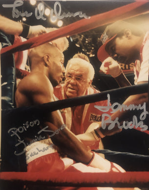 Junior Poison Jones and Tommy Brooks, Lou Duva 3 Autographed signed 8x10 Boxing Photo.