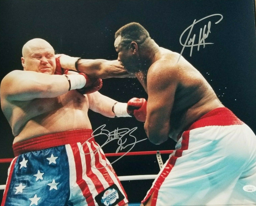 Larry Holmes & Butterbean signed 16x20 photo Holmes last fight JSA COA