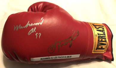 Muhammad Ali and Joe Frazier Autographed Vintage Everlast Red Boxing Glove SOP certified