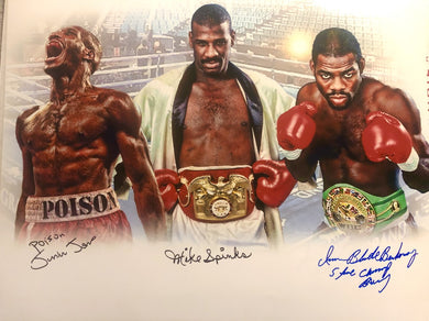 Michael Spinks Autographed Signed 11x14 Junior Jones, Iran Barkley, 3 signatures Boxing Photo