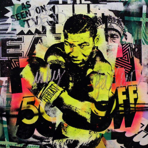 Mr Brainwash Print on Canvas Graffiti art wall decor Mike Tyson Boxing 28x36