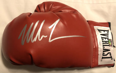 Mike Tyson Autographed Red Silver Everlast Boxing Glove JSA Certified