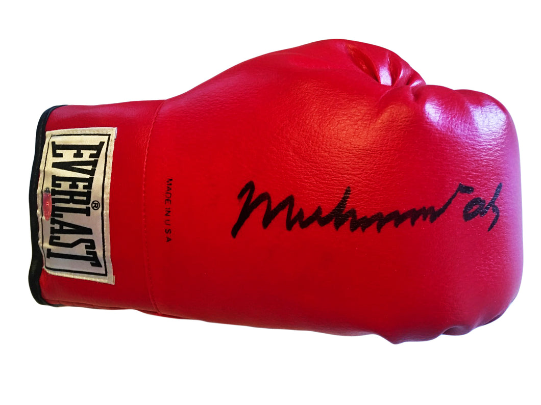 Muhammad Ali Steiner Sports Certified Autographed Everlast Red Boxing Glove Bold Signature.
