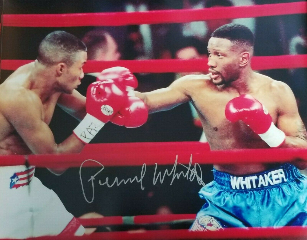 Pernell Whitaker silver autographed signed 16x20 photo vs Tito Trinidad