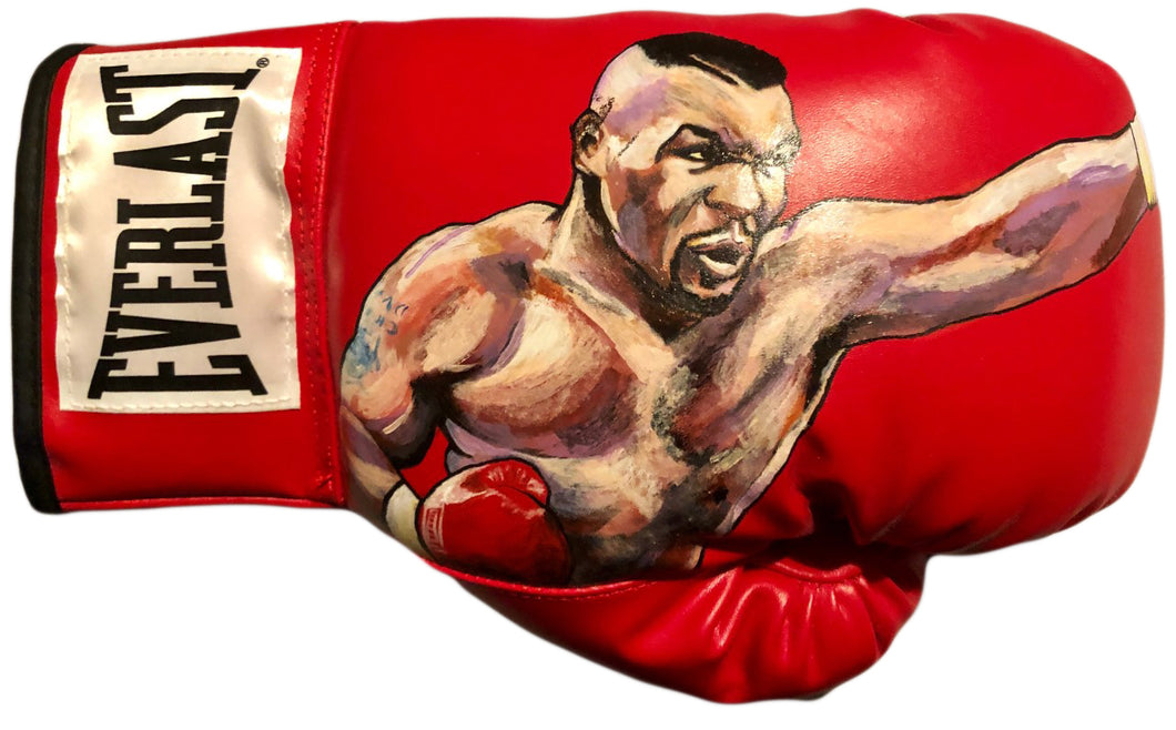 Mike Tyson Rare Original hand Painted art on a leather Everlast Boxing Glove