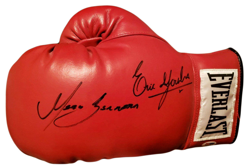 Erik Morales vs. Marco Antonio Barrera dual Autographed Red Boxing Glove in Black Signature, PSA