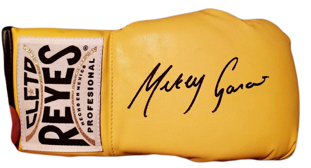 Mikey Garcia Autographed Reyes yellow Boxing Glove in Black Signature
