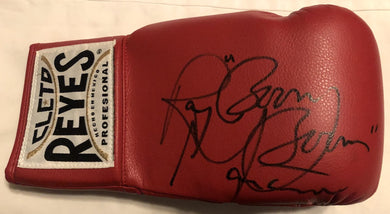 Ray Boom Boom Mancini Autographed Reyes Red Boxing Glove JSA