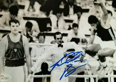 Riddick Bowe signed 8x10 photo 88 Olympics semifinals victory over Russian JSA