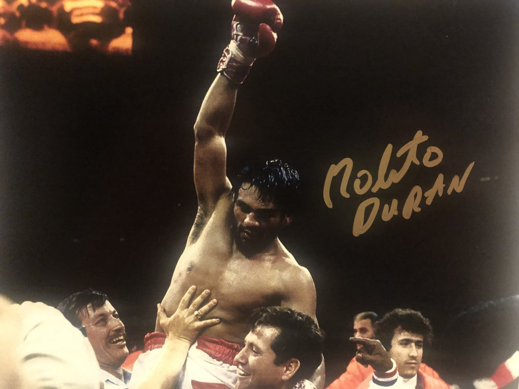 Roberto Duran Autographed Signed boxing 8x10 Championship photo