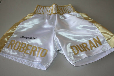 ROBERTO DURAN SIGNED GOLD BOXING TRUNKS