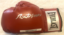 Roberto Duran Autographed Silver Signed Red Everlast Boxing Glove large signature