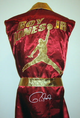 Roy Jones Jr Autographed Signed Burgundy Boxing Robe ASI Proof
