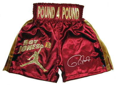 Roy Jones Jr., Autographed Custom Painted Boxing Trunks with ASI Certified, Picture Proof!