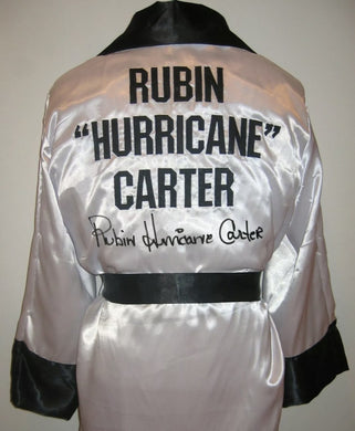 Rubin Hurricane Carter signed autographed Boxing Robe ASI Certified