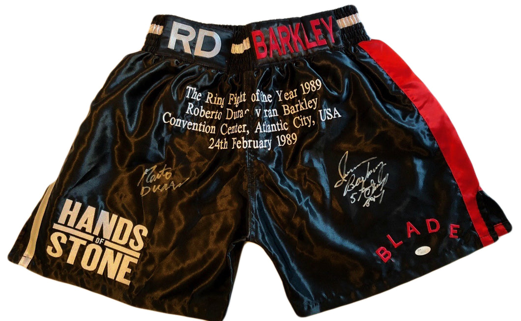 Roberto Duran vs Iran Barkley Custom Boxing Trunks Autographed in Silver Signature