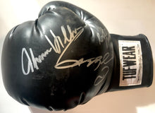Sugar Ray Leonard and Roberto Duran, Hearns Autographed TUFFWEAR Black Boxing Glove in Silver