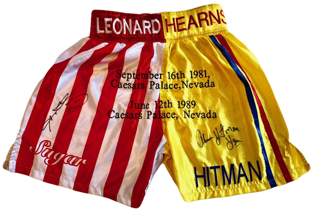 Sugar Ray Leonard and Tommy Hearns Custom Boxing Trunks Autographed in Black Signature
