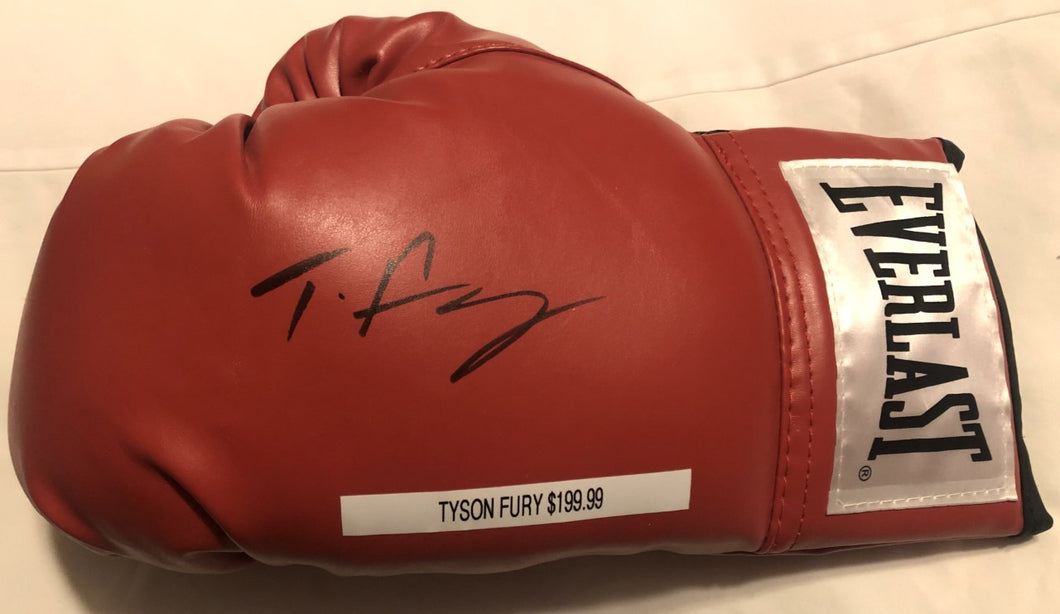 Tyson Fury Signed Red Everlast Boxing Glove Fury Boxing Autograph Memorabilia